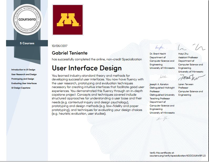 Gabriel UI Design University of Minnesota